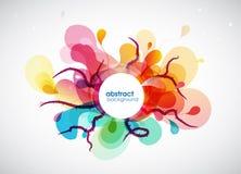 Abstrakt begrepp färgad blommabakgrund med cirklar och borsteslaglängden Arkivbild