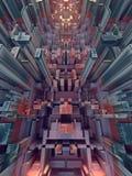 Abstrakt begrepp färgad futuristisk technomodell Digital 3d illustration stock illustrationer