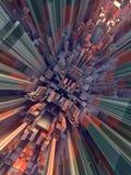 Abstrakt begrepp färgad futuristisk technomodell Digital 3d illustration Royaltyfri Foto
