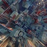 Abstrakt begrepp färgad futuristisk technomodell Digital 3d illustration Royaltyfria Foton