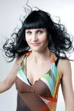 abstrakt begrepp färgad klänningflicka Fotografering för Bildbyråer