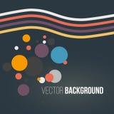 Abstrakt begrepp färgade gjorde randig vågor och cirklar på den mörka bakgrunden vektor vektor illustrationer