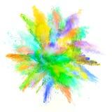 Abstrakt begrepp färgade pulverexplosion som isolerades på vit bakgrund Arkivbilder