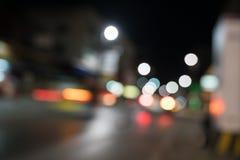 Abstrakt begrepp för Bokeh gata- och medelljus Fotografering för Bildbyråer
