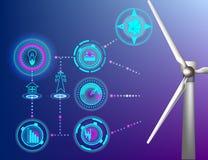 Abstrakt begrepp för energi för bakgrundsEco gräsplan, vektor, modern teknologi i kontroll för vindturbiner royaltyfri illustrationer