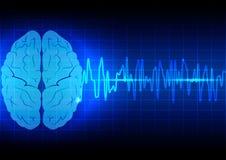 Abstrakt begrepp för hjärnvåg på blå bakgrundsteknologi Arkivbild