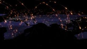 abstrakt begrepp för tolkning 3D av världsnätverket, internet och det globala anslutningsbegreppet Beståndsdelar av denna avbilda Royaltyfri Fotografi