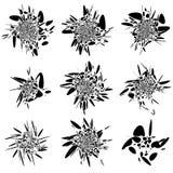 Abstrakt begrepp fluid-som formuppsättning Plaska, plaska beståndsdelar random stock illustrationer