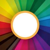 Abstrakt begrepp formar med cirkeln i mitt för reklambladet, broschyr Arkivbild