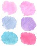 Abstrakt begrepp hand-dragit verkligt vattenfärgljus - slösa, mörker - blått, rosa färger, Royaltyfria Foton