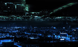 Abstrakt begrepp illuminted modernt nattstadsbegrepp Royaltyfri Bild
