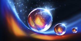 Abstrakt begrepp konst, astronomi, bakgrund, boll, svart, bl?tt som ?r ljus, stad, f?rg som ?r f?rgrik, f?rger, kosmos, kristall  royaltyfri illustrationer