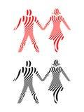 Abstrakt begrepp kopplar ihop innehavhänder i svart och rött Arkivfoto