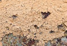 Abstrakt begrepp korroderade målarfärg för skalning för väggen för färgrikt järn för tapetgrungebakgrund rostig konstnärlig Royaltyfri Bild