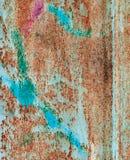 Abstrakt begrepp korroderade rostigt konstnärligt för färgrikt grungebakgrundsjärn Arkivfoto