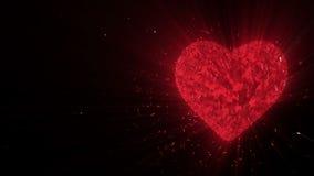Abstrakt begrepp kretsad livlig bakgrund: Roterande lysande bildade stycken för rubin 3d hjärta och kuber av den röda snurret med