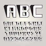 Abstrakt begrepp lutar skuggaalfabet och nummer royaltyfri illustrationer
