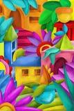 Abstrakt begrepp med färgrika former Arkivbilder