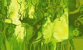 Abstrakt begrepp med hus och träd Arkivfoton