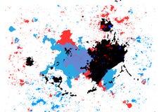 Abstrakt begrepp plaskar blå röd och svart färgbakgrund illustrat royaltyfri illustrationer