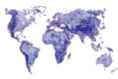 Abstrakt begrepp prack prickar för runda för världskartavektorblått Dot World översikter extra bakgrundsaffärsformat också vektor Arkivbild