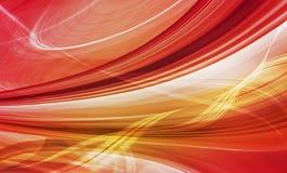 Abstrakt begrepp rusar bakgrund av rött, och gult krökt formar Arkivbild