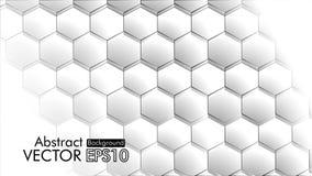 Abstrakt begrepp Sexhörning, vit bakgrund för honungskaka, ljus och skugga kopiera avstånd vektor stock illustrationer