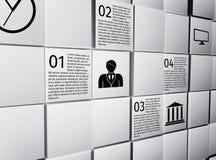 Abstrakt begrepp skära i tärningar infographic designbeståndsdelar Arkivbilder