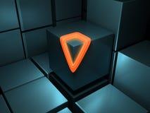 Abstrakt begrepp skära i tärningar orange glöd Fotografering för Bildbyråer