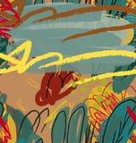 Abstrakt begrepp skissade trädgårds- träd gräsplan och brunt Fotografering för Bildbyråer