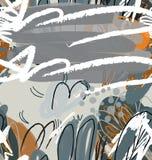 Abstrakt begrepp skissade trädgårds- träd grå färger och apelsin Royaltyfri Fotografi