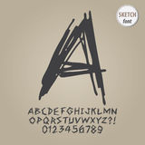 Abstrakt begrepp skissar alfabet och siffravektorn Arkivbilder
