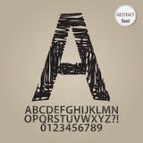 Abstrakt begrepp skissar alfabet och siffravektorn Arkivbild