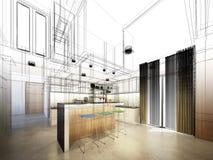Abstrakt begrepp skissar design av inre kök royaltyfria foton