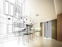 Abstrakt begrepp skissar design av inre kök arkivbild