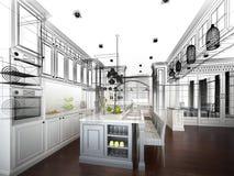 Abstrakt begrepp skissar design av inre kök stock illustrationer