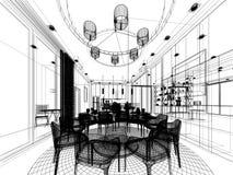 Abstrakt begrepp skissar design av inre matsal Royaltyfri Foto