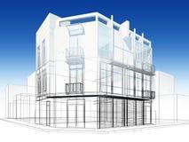 Abstrakt begrepp skissar design av yttre byggnad Royaltyfria Bilder