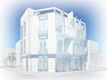 Abstrakt begrepp skissar design av yttre byggnad Royaltyfria Foton