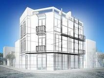 Abstrakt begrepp skissar design av yttre byggnad Fotografering för Bildbyråer