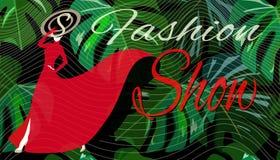 Abstrakt begrepp skissar flickamodellen, den röda guld- och svart hatten för klänning, vektor illustrationer