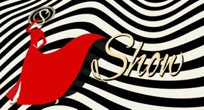 Abstrakt begrepp skissar flickamodellen, röd klänning stock illustrationer