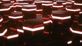 Abstrakt begrepp som är rött av futuristisk yttersidasexhörningsmodell med ljusa strålar r arkivfilmer