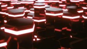 Abstrakt begrepp som är rött av futuristisk yttersidasexhörningsmodell med ljusa strålar r stock video