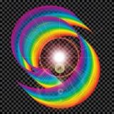 Abstrakt begrepp som är färgrikt, luftremsa på en mörk plädbakgrund logo all färgregnbåge Ljus stråle illustration Royaltyfri Bild
