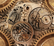 Abstrakt begrepp stiliserad collage av ett mekaniskt D Arkivbilder
