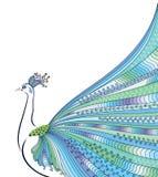 Abstrakt begrepp stiliserat påfågelhälsningkort inbjudan Royaltyfria Bilder