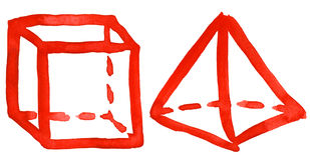 abstrakt begrepp tecknade geometriska handen shapes vattenfärg Fotografering för Bildbyråer