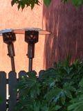 Abstrakt begrepp, uteplatsvärmeapparater och ett staket royaltyfri bild