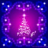 Abstrakt begrepp vinkar bakgrund med julträdet Vektorillustration i lila- och vitfärger Royaltyfri Bild